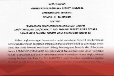 Menteri PANRB Larang ASN Mudik dan Cuti Saat Lebaran