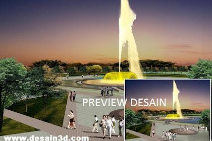 Jasa pembuatan desain kolam air mancur pusat taman kota view malam