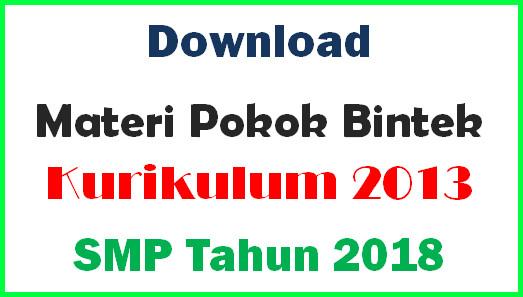 Materi Bintek Penyegaran Kurikulum 2013 SMP Tahun 2018