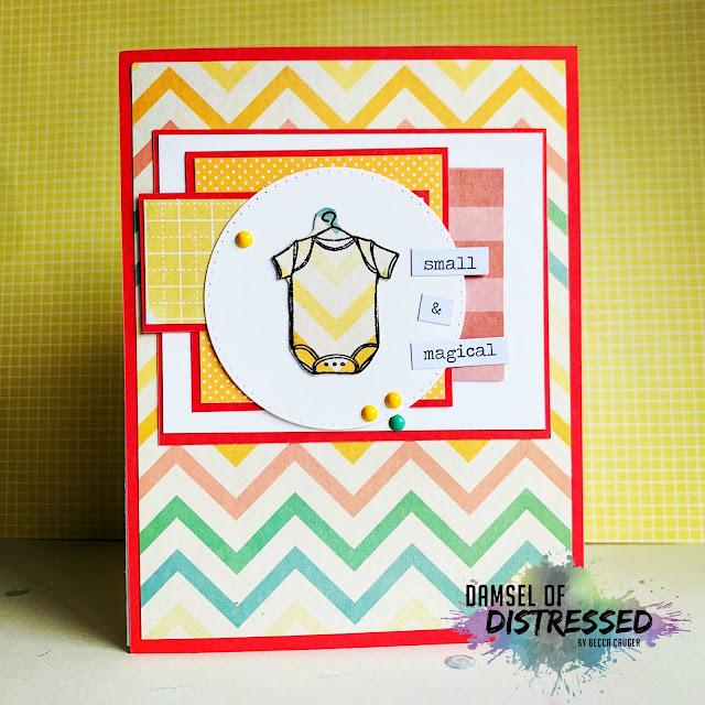 stamped card design baby onesie
