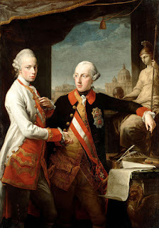 El Emperador José II (1741-1790) y a la izquierda su hermano el Gran Duque Leopoldo de la Toscana (quien luego se convertiría en el Emperador Leopoldo II), por Pompeo Girolamo Batoni (1708–1787), 1769.