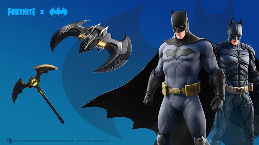 caped crusader bundle batman comic book outfit fortnite x batman crossover event items cosmetics loot ps4 xbox one pc nintendo switch