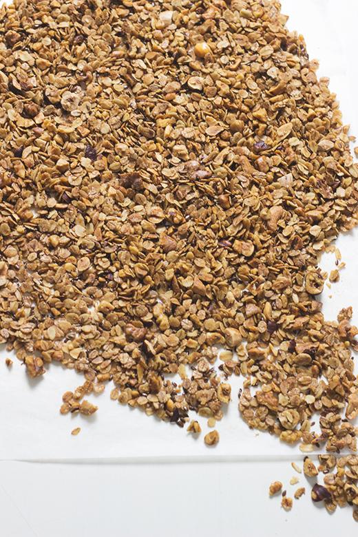 Knuspermüsli mit Leinsamen und Nüssen. Rezept für gesundes Frühstück. Holunderweg18