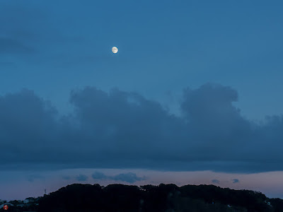 The evening moon: Yuigahama-beach (Kamakura)