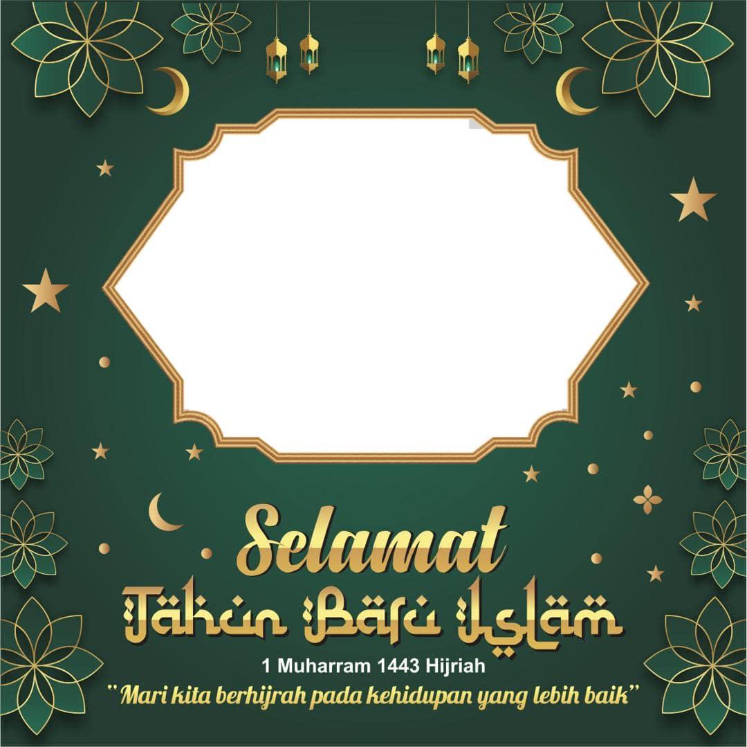 Desain Background Bingkai Twibbon Ucapan Tahun Baru Hijriyah 1443 Tahun 2021
