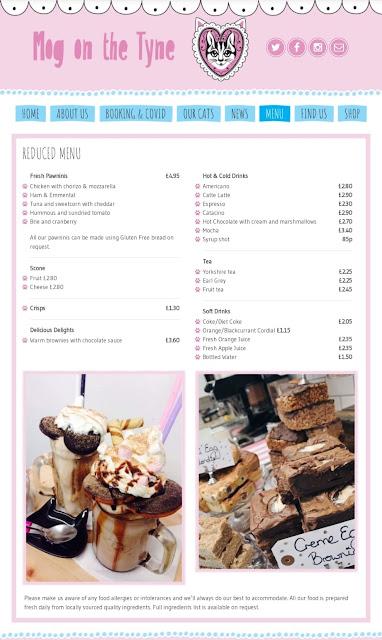 Mog on the Tyne Review - cafe menu