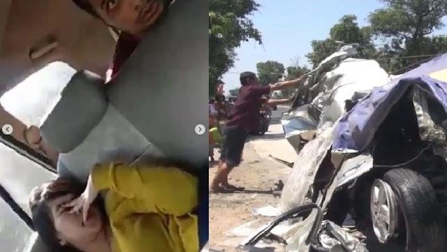 Kecelakaan Bus Mira vs Innova Madiun-Nganjuk
