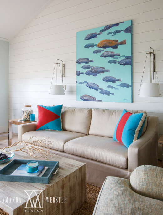 Large School of Fish Art Above Sofa Living Room Design