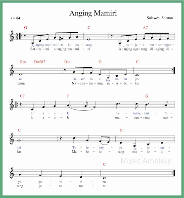 not balok lagu anging mamiri lagu daerah sulawesi selatan
