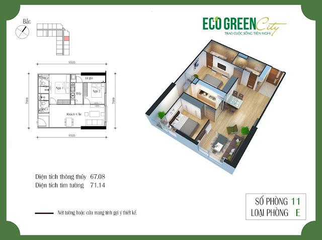 Thiết kế căn hộ 11 tòa CT2 Eco green city