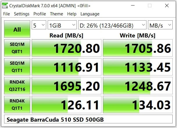 Seagate BarraCuda 510 M.2 SSD CrystalDiskMark 7.0