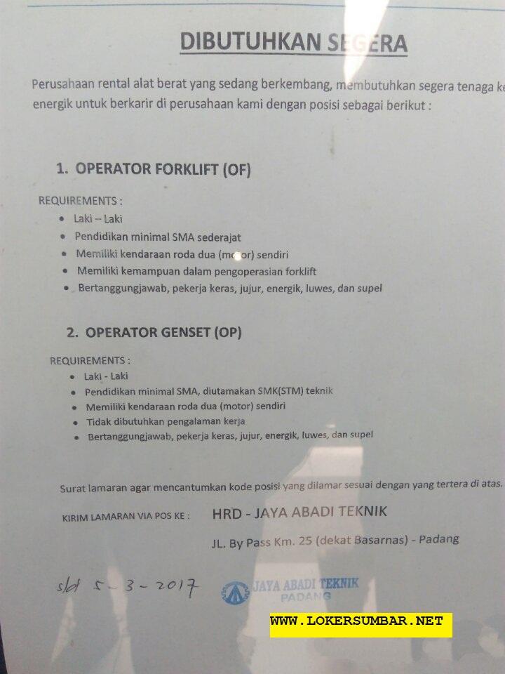 Lowongan Kerja di Padang – Jaya Abadi Teknik – Operator (Closed 5 Maret 2017)
