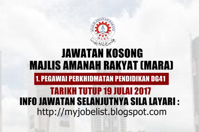 Jawatan Kosong di Majlis Amanah Rakyat (MARA) Julai 2017