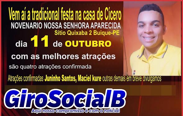 Maciel Kurê e Juninho Santos  são nomes confirmados na tradicional festa de Nossa Senhora Aparecida em Outubro no Sitio Quixaba, zona rural de Buíque.