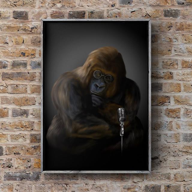 rock star, Bigfoot art, ape art, Mark Taylor, Fine Art America, Pixels art,