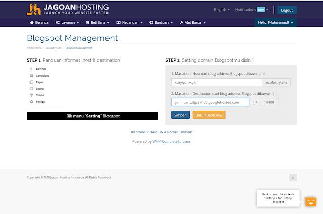 Cara Setting Domain Dari Jagoan Hosting Ke Blogspot