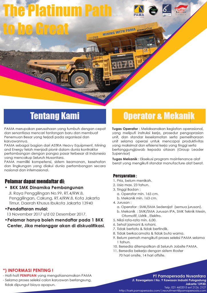 Bkk Smk Dinamika Pembangunan : dinamika, pembangunan, Dinamika, Pembangunan, Untuk, Pamapersada, Nusantara, (PAMA)