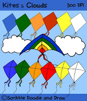 Free Kites and clouds clip art for teachers