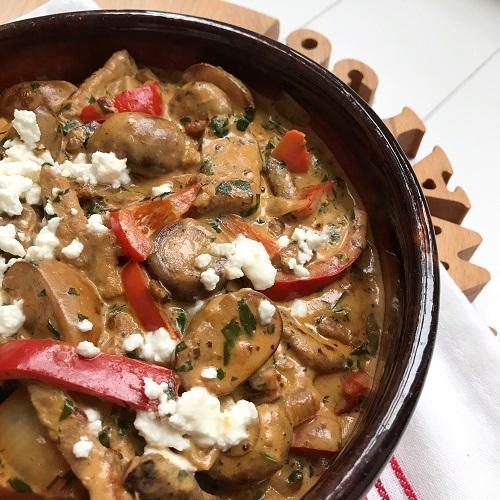 Gyros mit Champignons, Paprika und Zwiebel in Käse-Rahmsauce