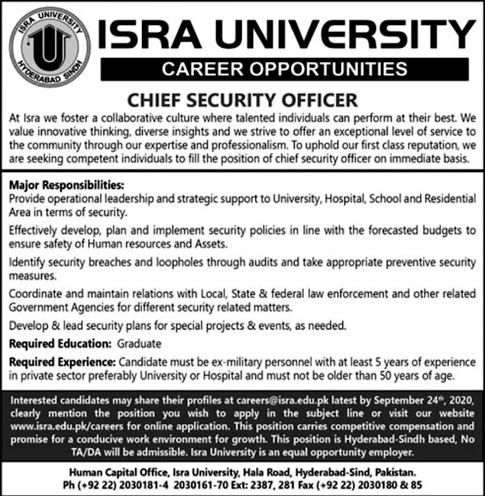 JOBS | Chief Security Officer Required For University