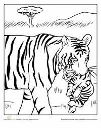 Mom and Baby Tiger Coloring Sheet For Print