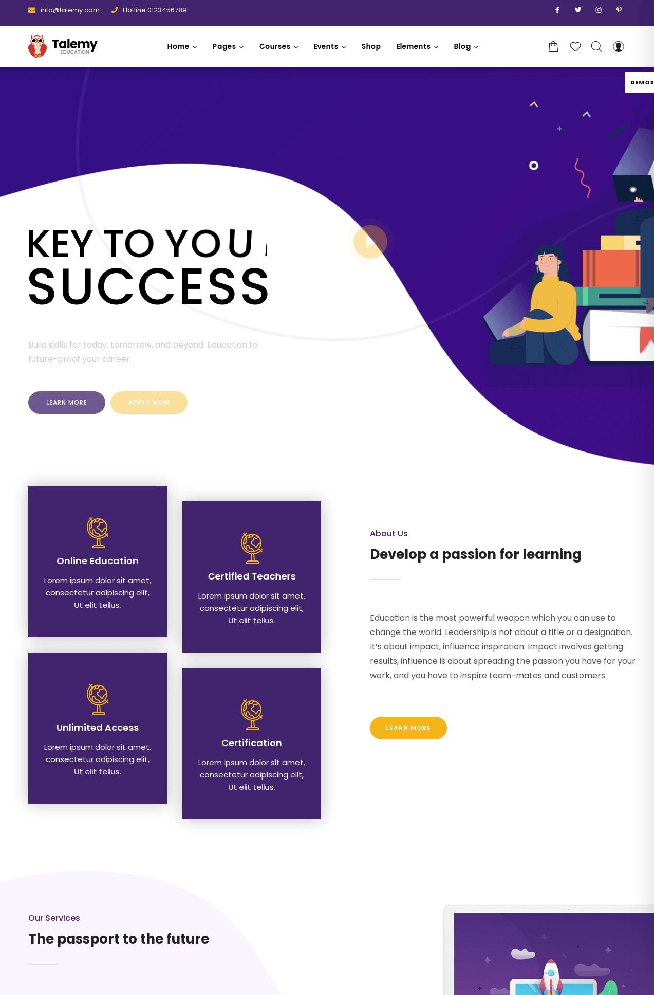 Talemy  LMS Education WordPress Theme