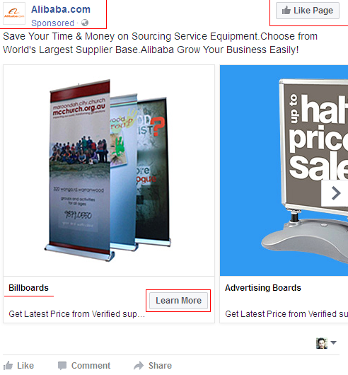 Alibaba.com ads on Facebook example