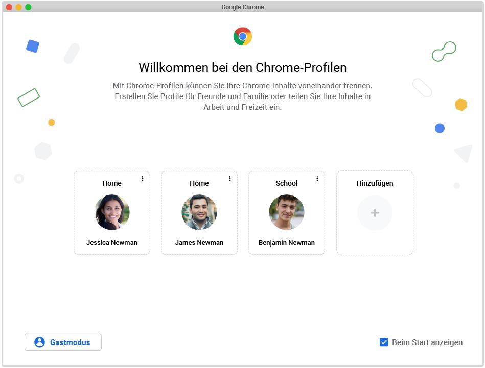 Ein Screenshots der Einrichtung von Chrome Profilen