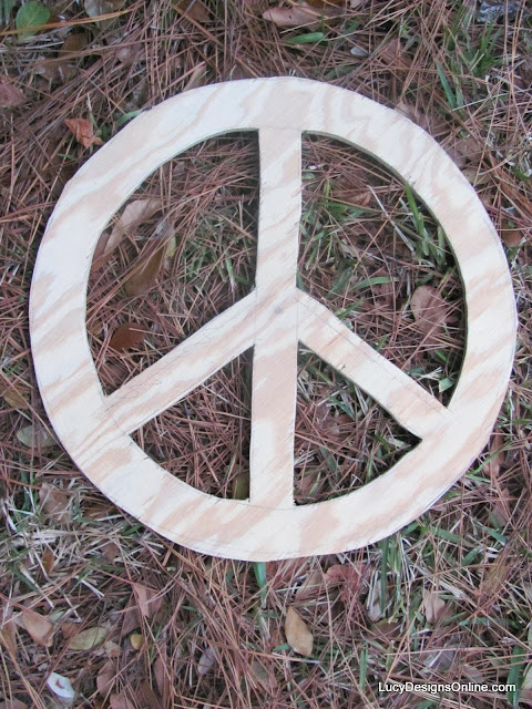 peace sign wood wreath cut out