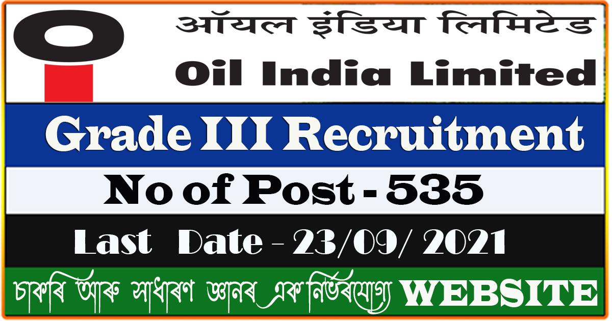 OIL Duliajan Recruitment 2021 - Grade III 535 Post