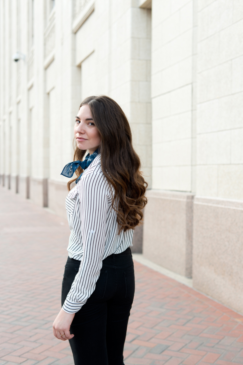 Poppy Wells striped button up blouse