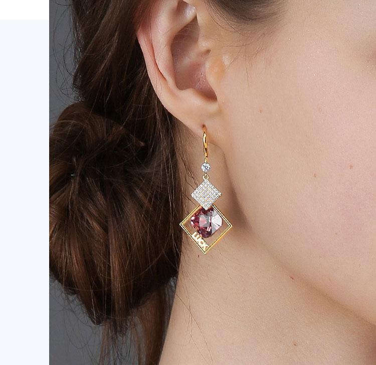 韓風菱形幾何雙色鋯石水晶耳環