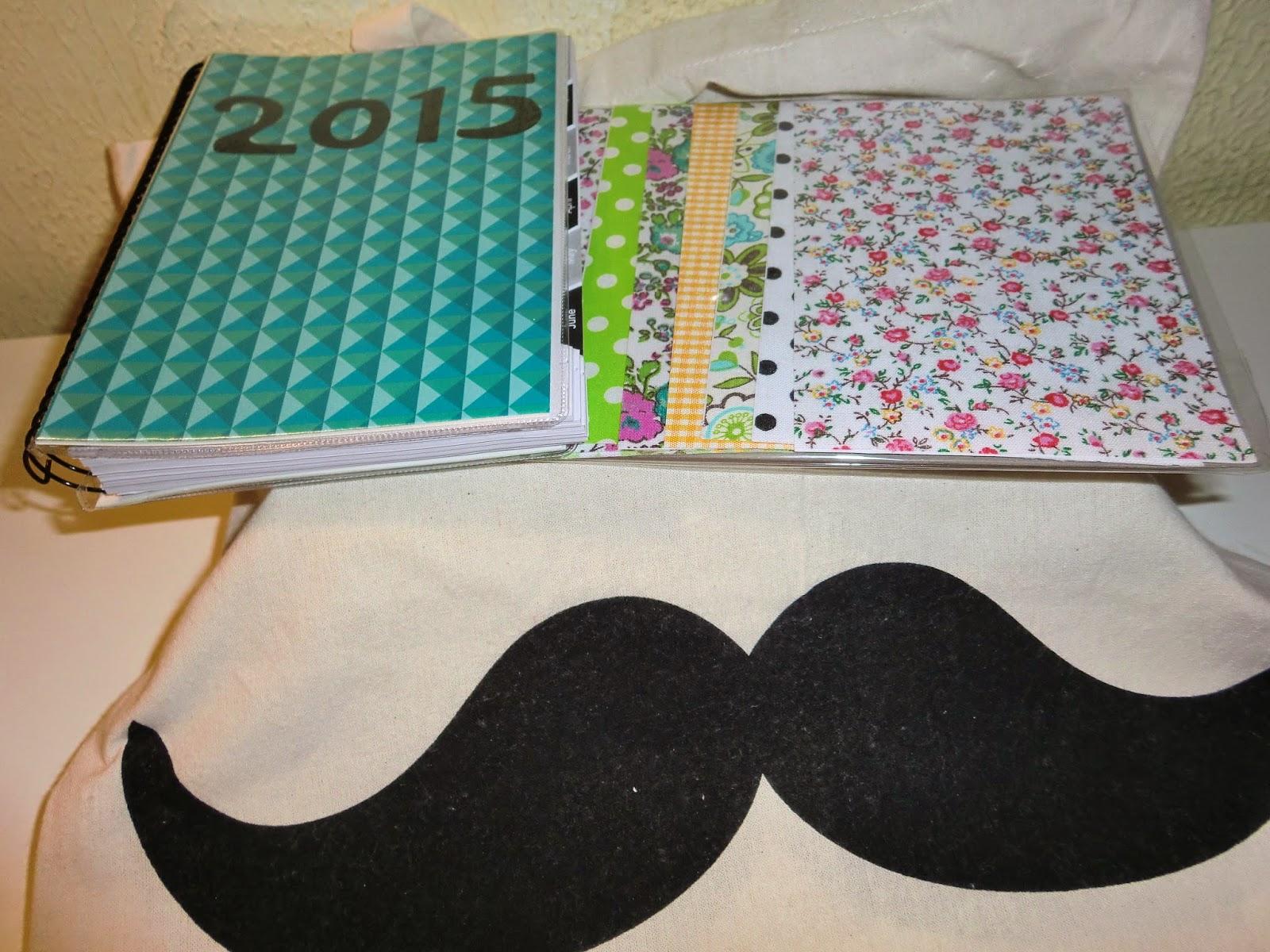 Bolsa de lona con agenda y telas adhesivas