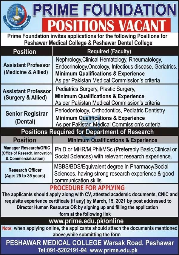 Peshawar Medical College   Medical Jobs  2021