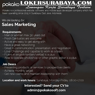 Latest Surabaya Job Vacancies in Pokako May 2019