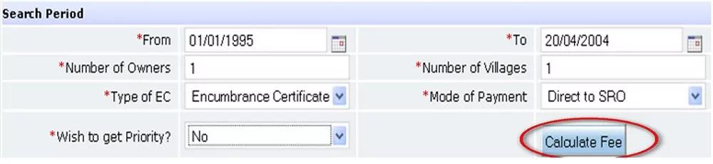 Calculate Fee for Encumbrance Certificate