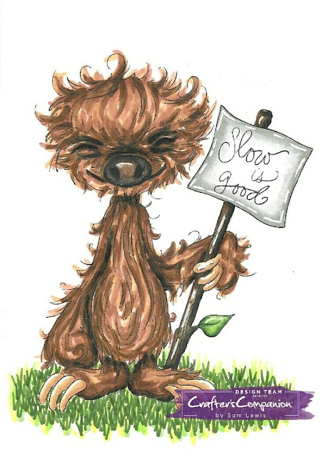 Sloth Advice by Saturated Canary. Coloured by Sam Lewis AKA The Crippled Crafter using Spectrum Noir Markers.