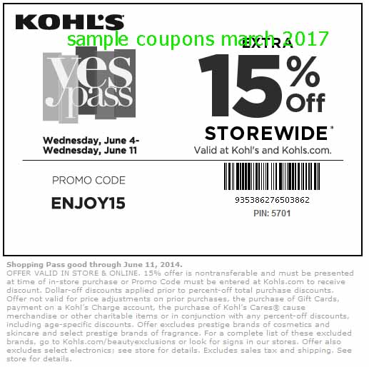 Kohls discount coupons for today