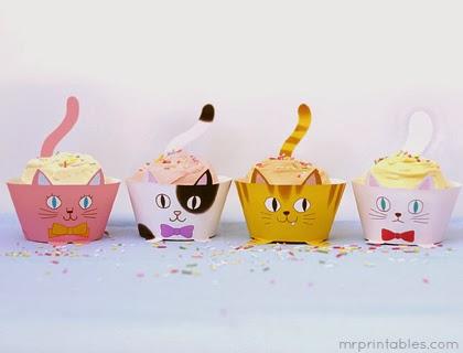 Gatos: Wrappers para Cupcakes para Imprimir Gratis.
