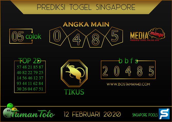 Prediksi Togel SINGAPORE TAMAN TOTO 12 FEBRUARY 2020