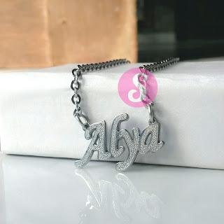 kalung nama monel silver grafir - alya