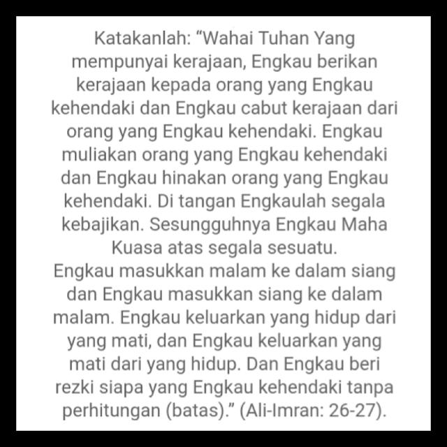 Amalan murah rezeki surah Al-imran ayat 26-27