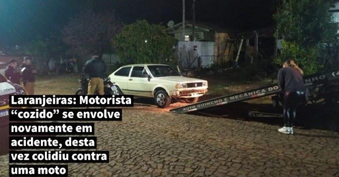 """Laranjeiras: Motorista """"cozido"""" se envolve novamente em acidente, desta vez colidiu contra uma moto"""