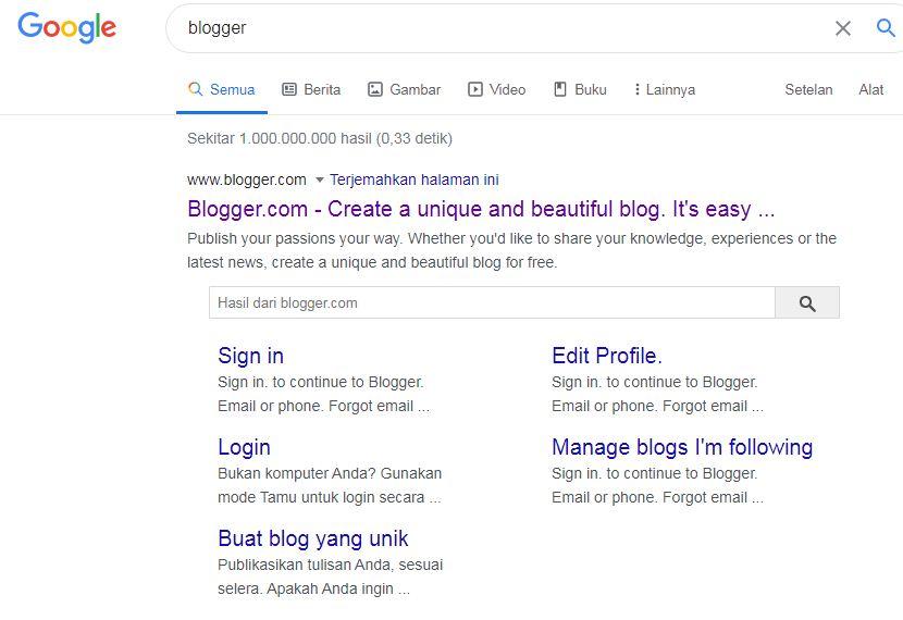 cara login atau masuk ke akun blogger
