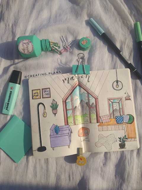 Cozy Home Vibes themed Bujo