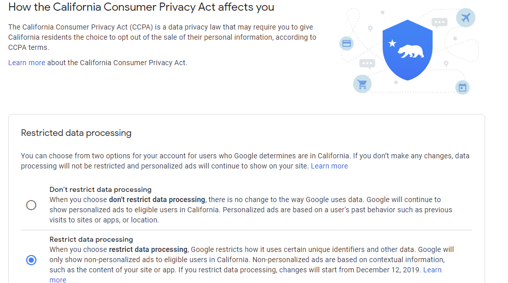 California Consumer Privacy Act settings for Adsense Publisher in Hindi