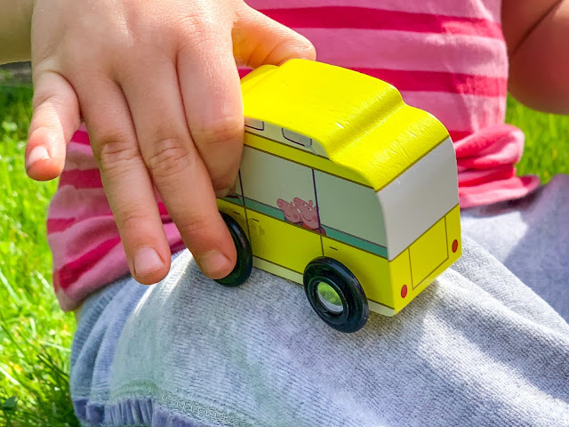 Close up of the Peppa Pig Campervan wooden toy from Milly & Flynn