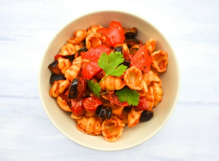 Pasta with a ratatouille sauce