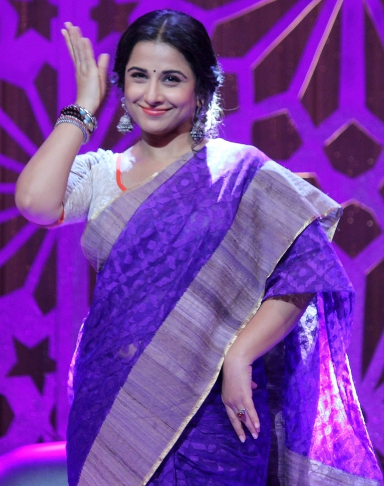 Indian Actress Vidya Balan Hot Long Hair In Violet Traditional Saree